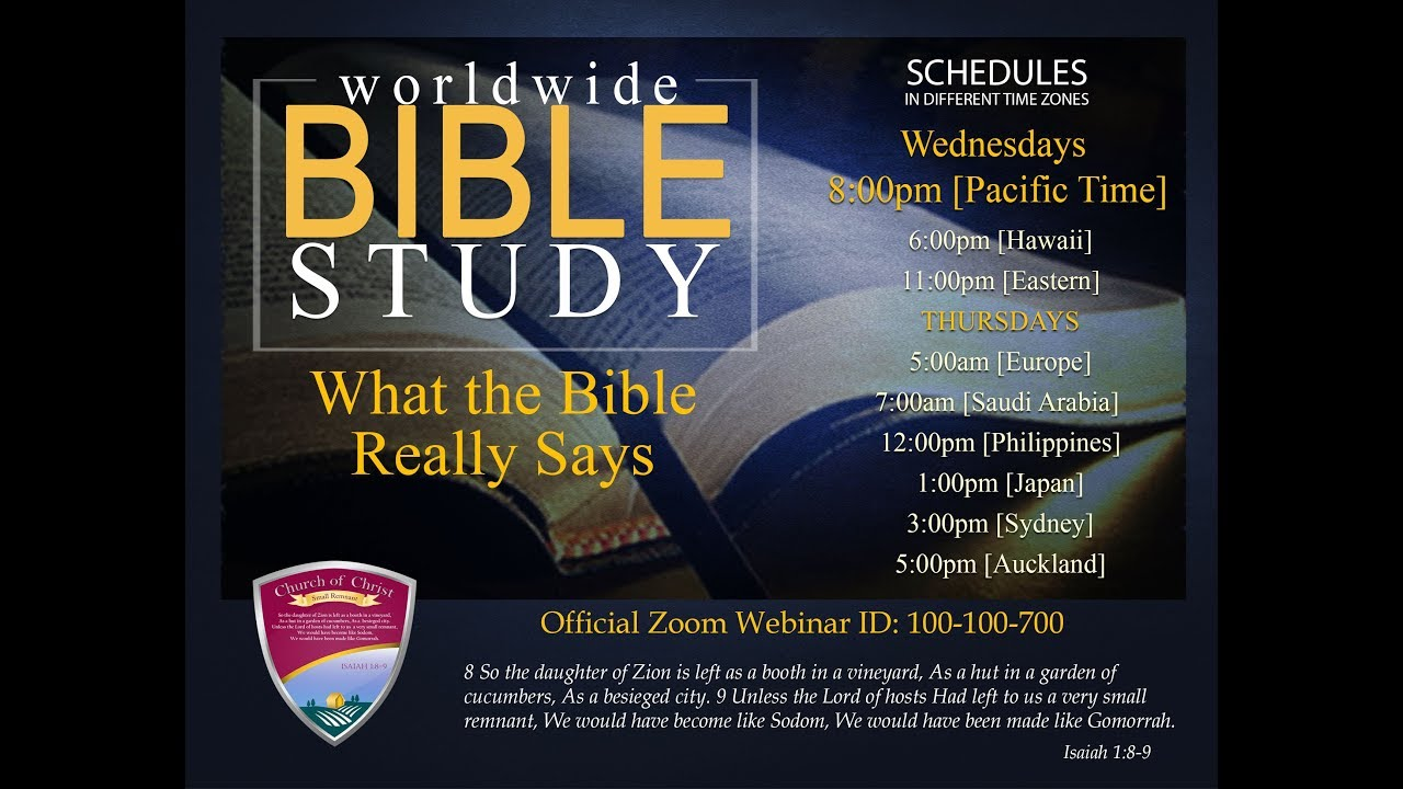 Worldwide Bible Study - May 16, 2018