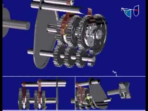4speed Gearbox Animation Made In CATIA V5 R18   YouTube