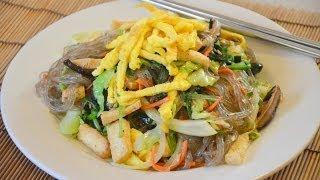 How To Make Japchae (korean Stir Fried Noodles) ผัดวุ้นเส้นเกาหลี (ฉับเช่)