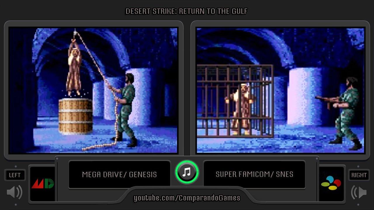 Desert Strike Sega Genesis Vs Snes Side By Side Comparison Vc