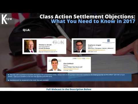 Class Action Settlement Objections