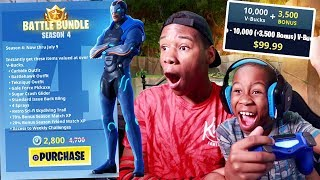 Kid Spends $100 On V Bucks For Season 4 Battle Pass (Fortnite)