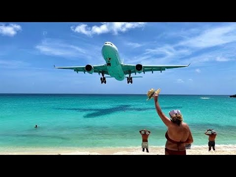 Download Very low pass ! Maho Beach, Sint Maarten SXM 🇸🇽 Plane Spotting / Princess Juliana Airport close up