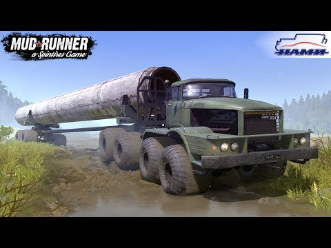 Spintires: MudRunner - NAMI-0127-P Transports A Giant Pipe Off-road