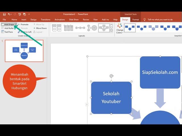 Tutorial Belajar Kursus Komputer Ms. Powerpoint Membuat SmartArt Hubungan Pada Slide Presentasi