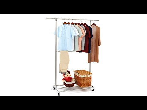 SUNPACE Double Rods Stainless Steel Adjustable Rolling Garment Rack  Extendable Clothes Hanging Rack