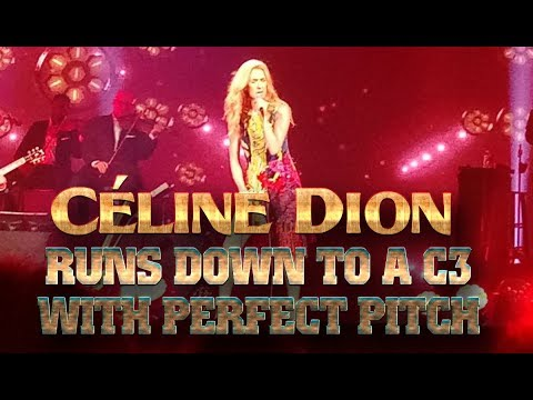 Céline Dion runs down to a C3 with perfect pitch in Taipei and sustain a C3 with vibrato in LV