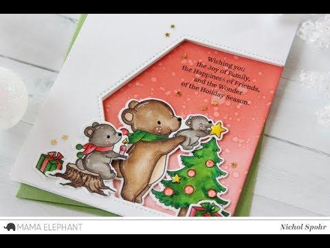 Hexastar Framed Christmas Scene with Mama Elephant