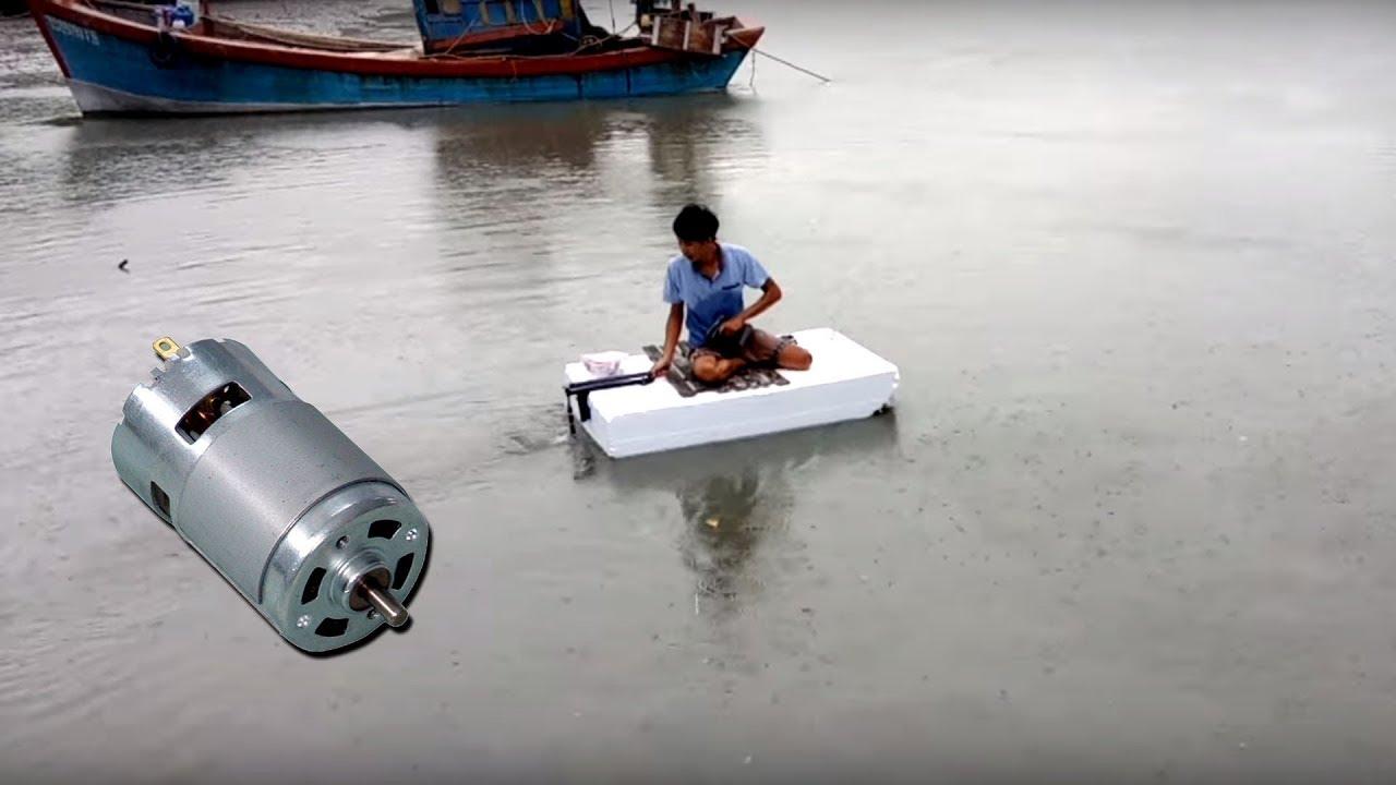 Chế thuyền xốp chở người động cơ Motor 775 | Engine preparation from Motor 775 running boat