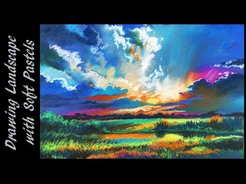 Soft pastel drawing tutorial | soft pastel techniques | How to draw landscape and paint it, tutorial