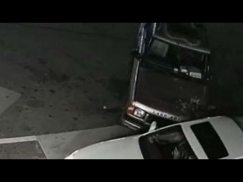 Driver's gas station ramming spree caught on camera