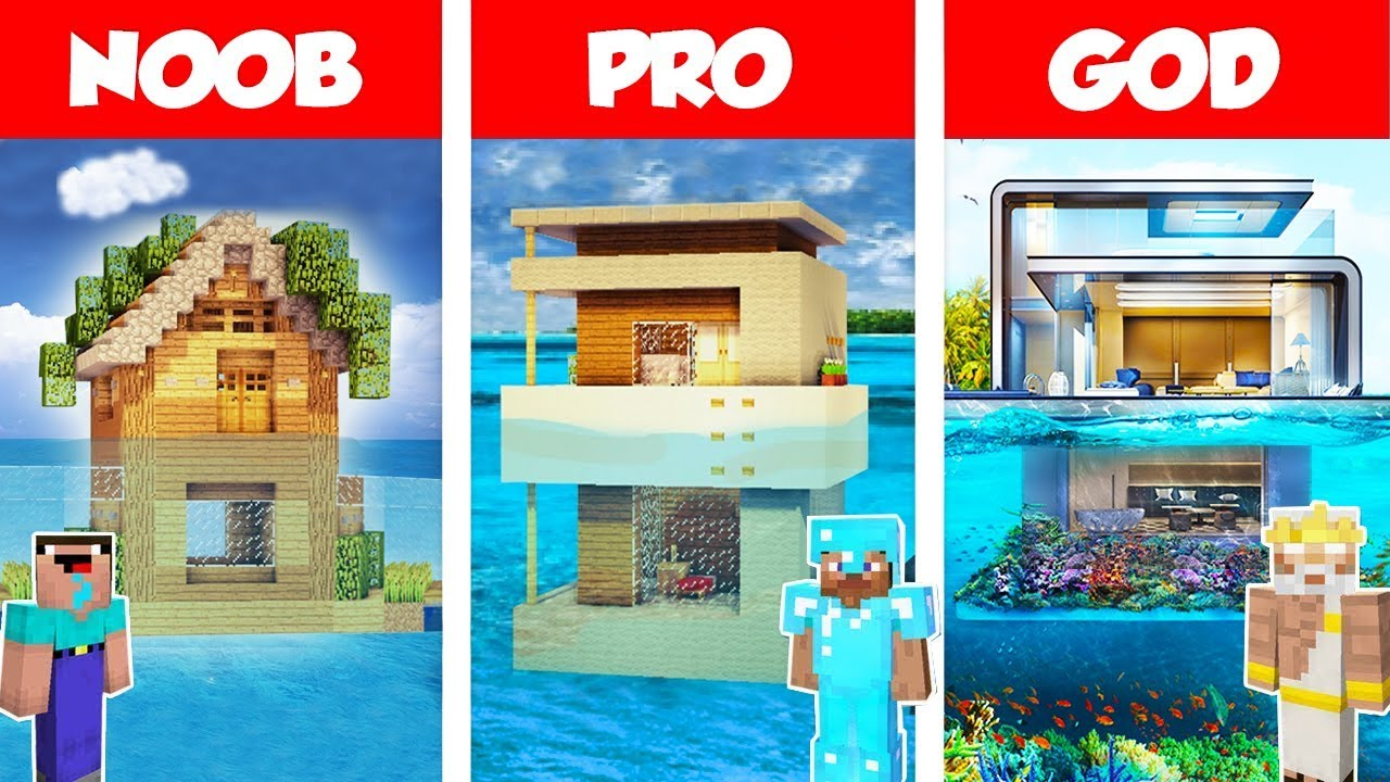 Minecraft Noob Vs Pro Vs God Modern House On Water Build Challenge In Minecraft Animation Youtube
