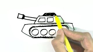How to draw a Tank   in  easy steps for children, kids, beginners