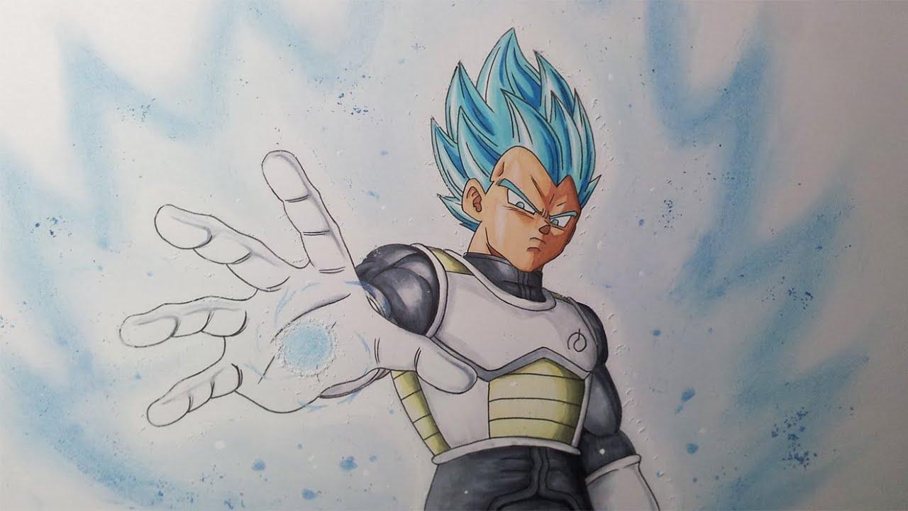 Drawing Vegeta Super Saiyan Blue Resurrection F Youtube
