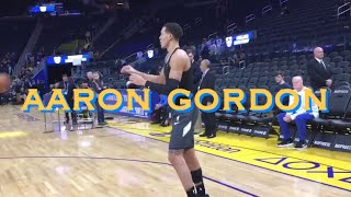 📺 Aaron Gordon 💦 workout at Orlando Magic pregame before abs Warriors at Chase Center in SF