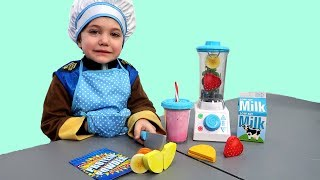 Zack pretend play healthy  food toys with Nursery rhymes songs for kids