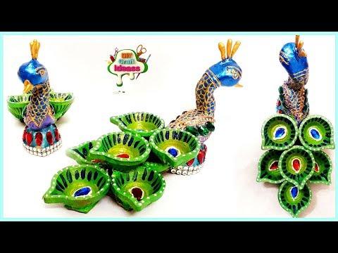 Diya Decoration ideas for Diwali,Beautiful Diwali Decorations Peackock Diya decoration idea