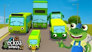 5 Green Buses | Baby Bus Songs For Kids | Learn To Count Nursery Rhymes | Gecko's Garage