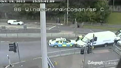 Cardiff hit-and-run driver in police car chase- CCTV