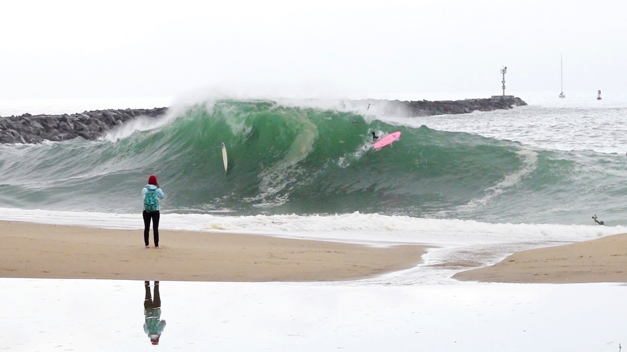 The Wedge - Surfers CHARGE first day of LA BOMBA Swell !!! (RAW Footage)