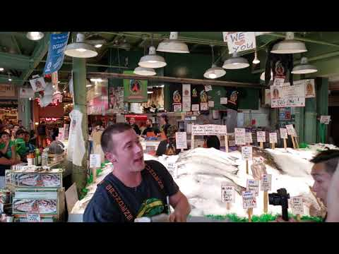 Flying Fish Seattle Washington Pike Place Market 4K UHD