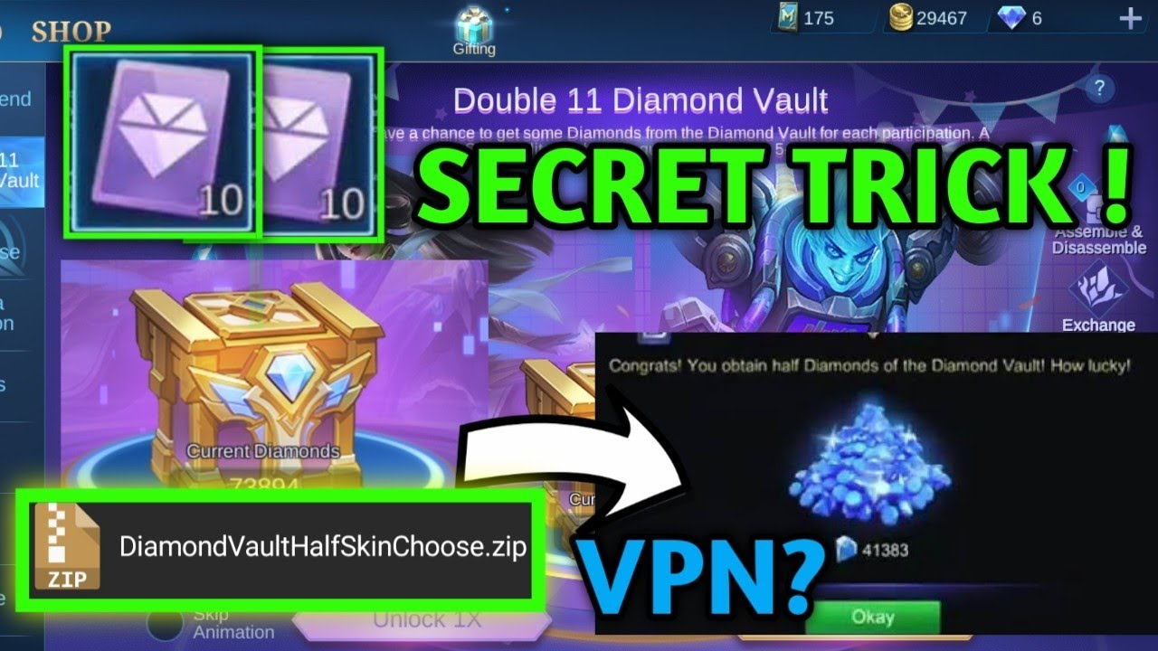 DOUBLE 11 DIAMOND VAULT TRICKS! CHOOSE ALL SKINS! | Mobile legends