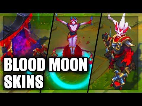 All Blood Moon Skins Spotlight Evelynn Jhin Yasuo Thresh Diana Talon Akali (League of Legends)