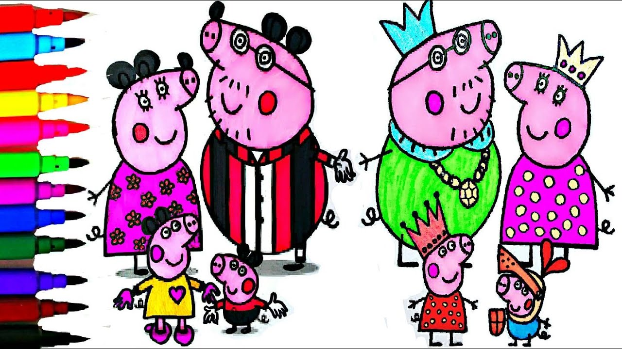 peppa pig coloring book pages peppa u0027s royal family kids fun art