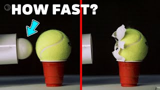 Ballistic Ping Pong Ball vs. Tennis Ball at 450km/h!