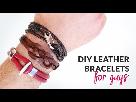bab26032915fd DIY 3 Styles of Leather Bracelets for Guys | Gift idea | Curly Made