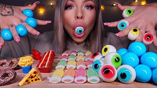ASMR PLANET GUMMI JELLY, NIK-L-NIPS WAX BOTTLES CANDY, EYEBALLS JELLY, CHOCOLATE BACON MUKBANG ASMR
