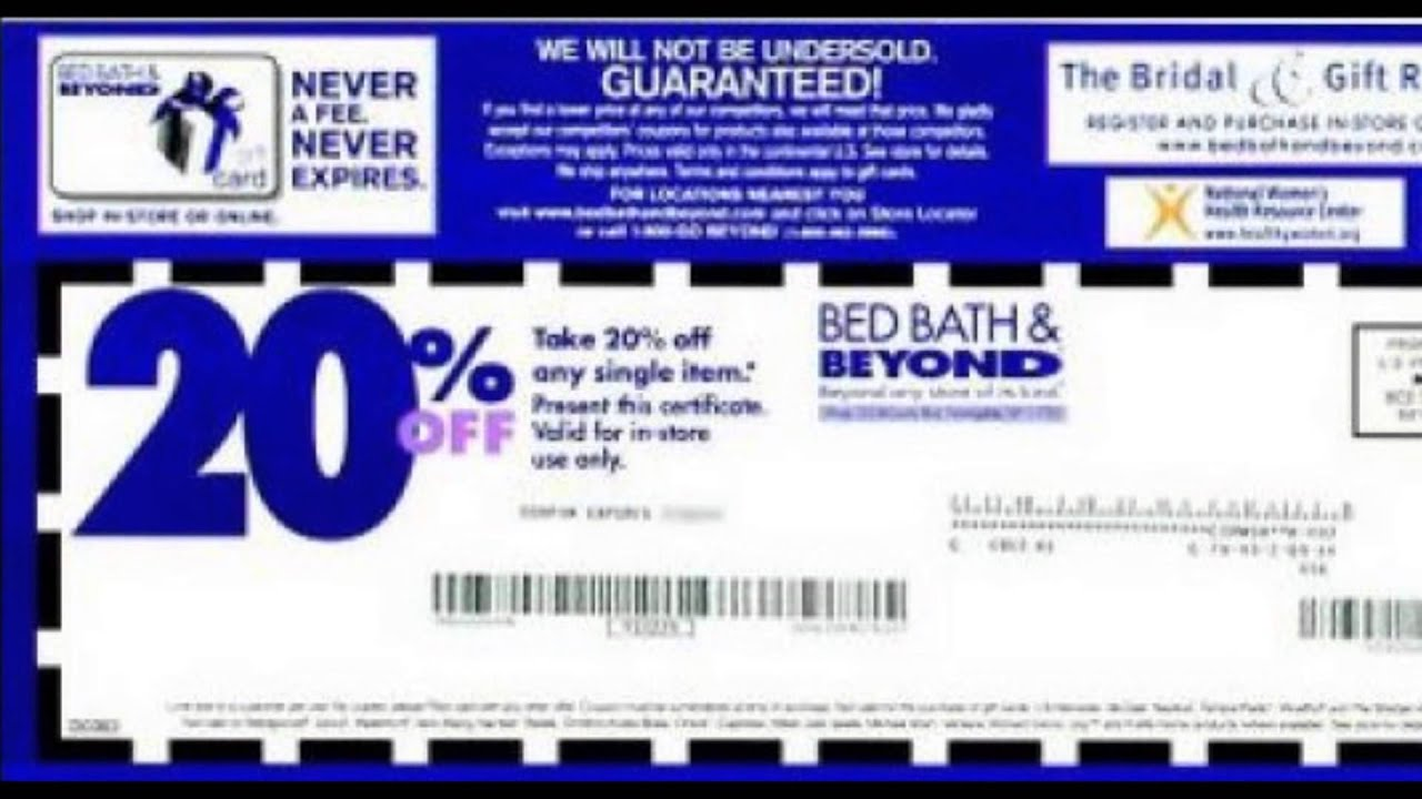 Bed Bath And Beyond Coupon Code Youtube