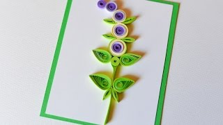 How to Make - Greeting Card Quilling Flower - Step by Step | Kartka Okolicznościowa