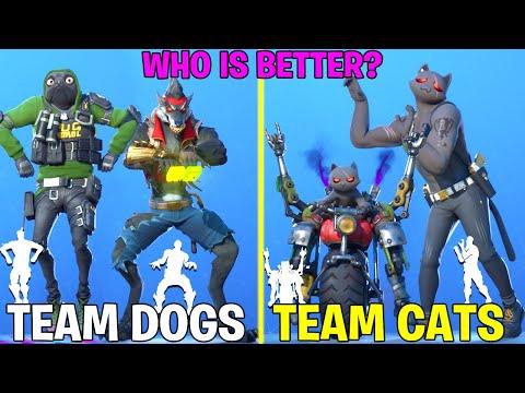 Team CATS Vs Team DOGS In Fortnite Dance Battle (Season 3 Kit, Meowscles, Planetary Vibe, Tippy Tap)