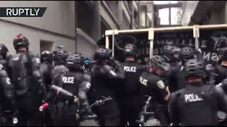 RAW  Seattle police use pepper spray as pro Trump and Antifa protesters face off