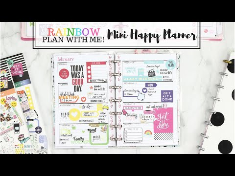 MINI HAPPY Planner Plan With Me! Rainbow Spread🌈 | At Home With Quita