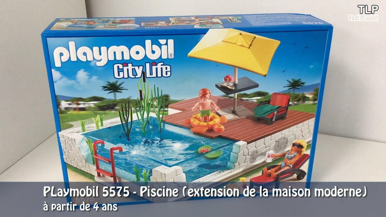 playmobil 5575 la piscine extension de la maison moderne youtube. Black Bedroom Furniture Sets. Home Design Ideas