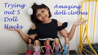 Testing 5 Minute Crafts Doll Hacks - Part 1 || Barbie Hacks || Doll Clothes || Doll Hacks