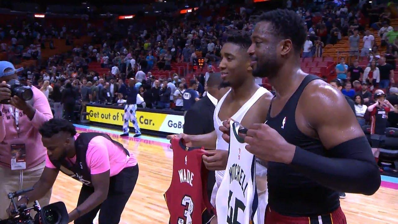 best cheap 6c9ac 71e29 Dwyane Wade & Donovan Mitchell Trade Jerseys After Game - Jazz vs Heat |  December 2, 2018