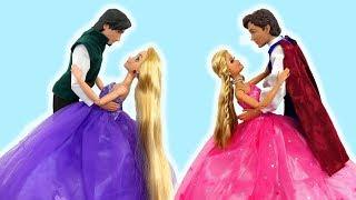 Princess Barbie Rapunzel Elsa Castle Morning Ballroom Dancing Putri Barbie Kastil Princesa Castelo