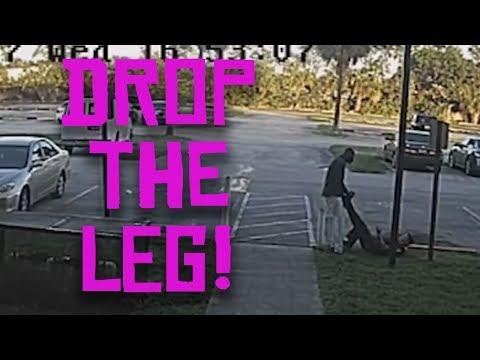 suspect takes cop's leg hostage