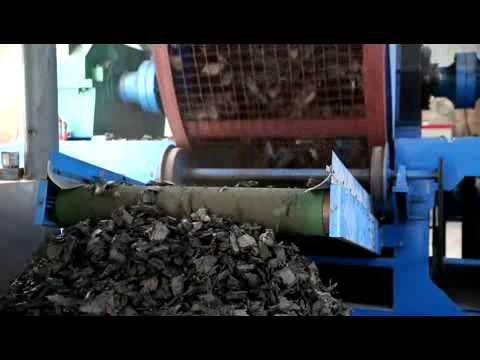 Work flow of rubber crusher (from waste tire to rubber powder)
