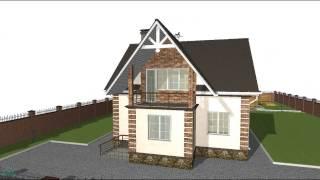 видео Строим дом. Проект дома с мансардой и крытой верандой.