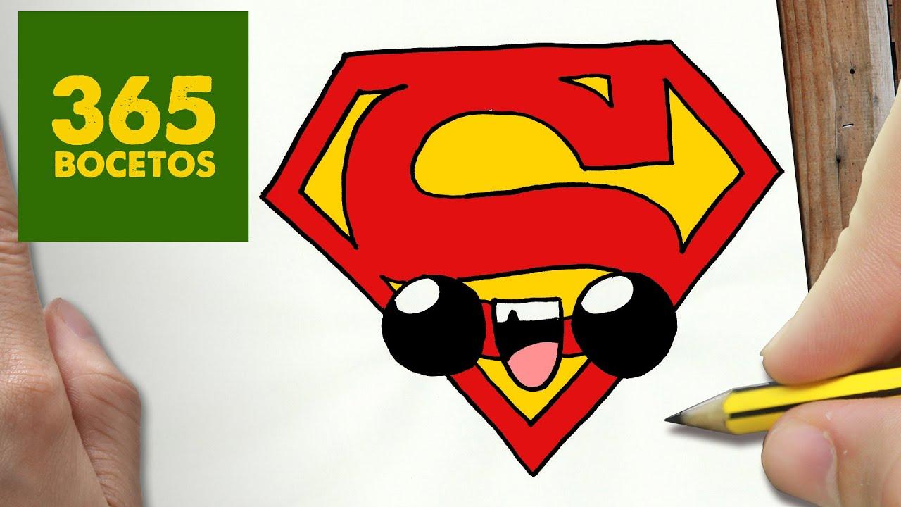 COMO DIBUJAR ESCUDO SUPERMAN KAWAII PASO A PASO - Dibujos kawaii ...