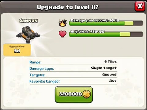 CLASH OF CLANS Cannon Upgrade to level 11