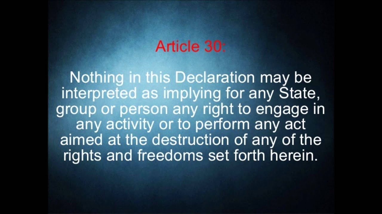 UDHR Universal Declaration Of Human Rights Article 30 - YouTube