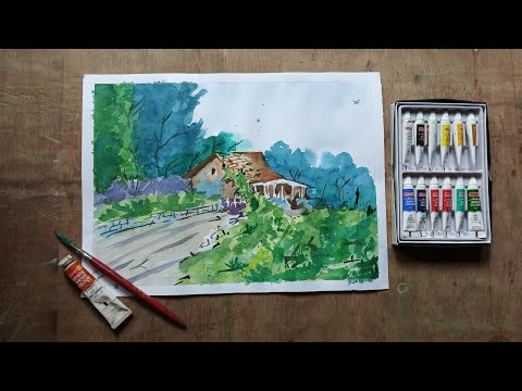 How to watercolors composition scenery painting |