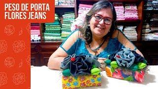 Como Reciclar Caixas de Leite e Criar Pesos de Porta com Flores de Tecido Jeans