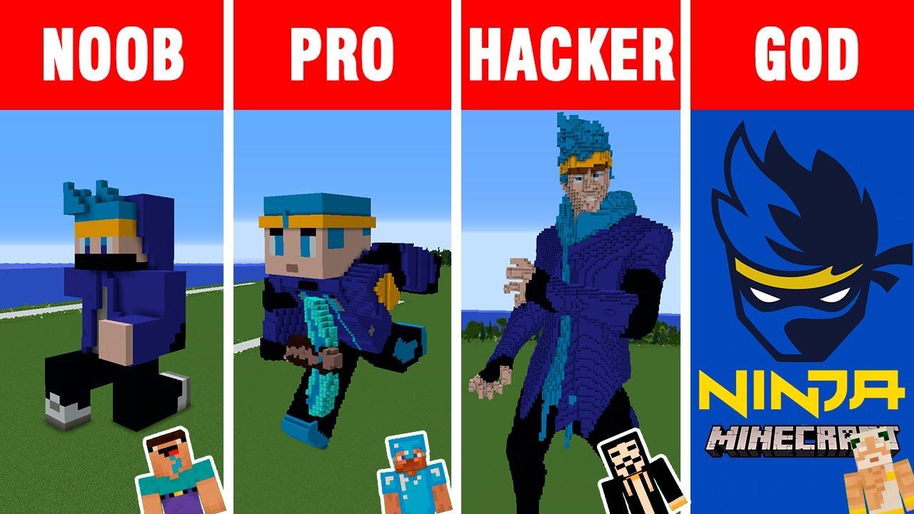 """Minecraft: NOOB vs PRO vs HACKER vs GOD: Tyler """"NINJA"""" Blevins Build Challenge in Minecraft"""