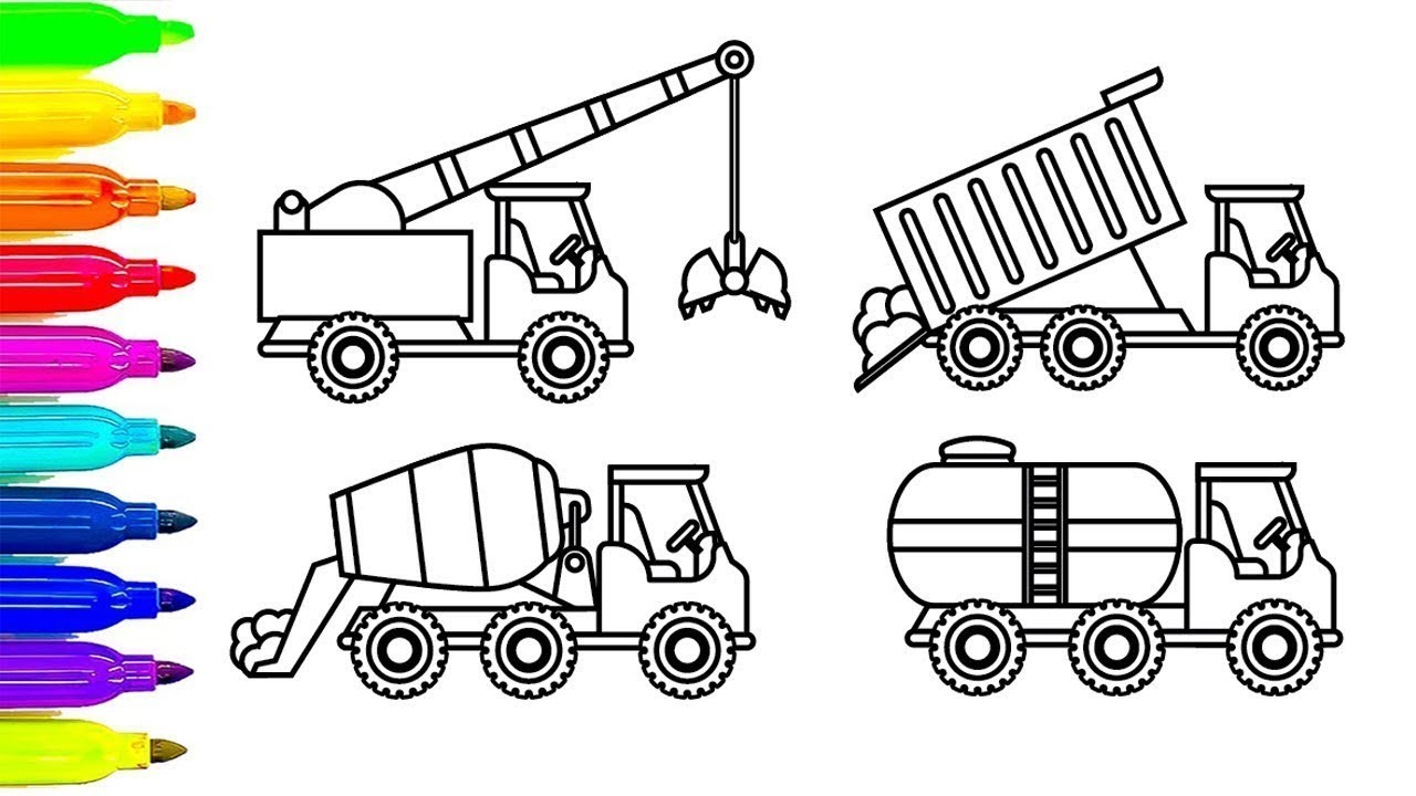 How to Draw Crane , Dump truck coloring pages, Construction truck colorin w  Leanr Color For Kids